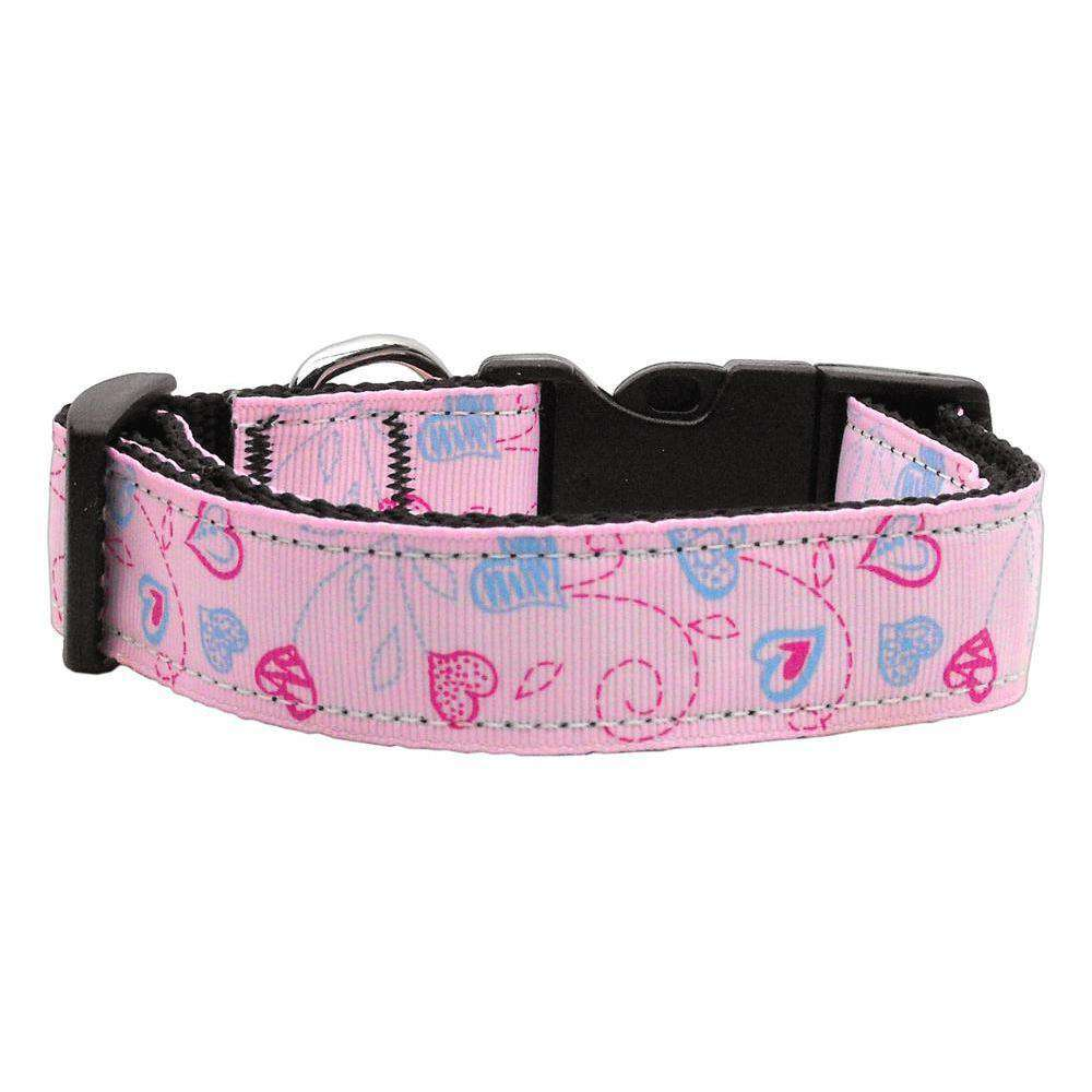 Crazy Hearts Nylon Collars Light Pink Xs-Mirage Pet Products-DirtyFurClothing