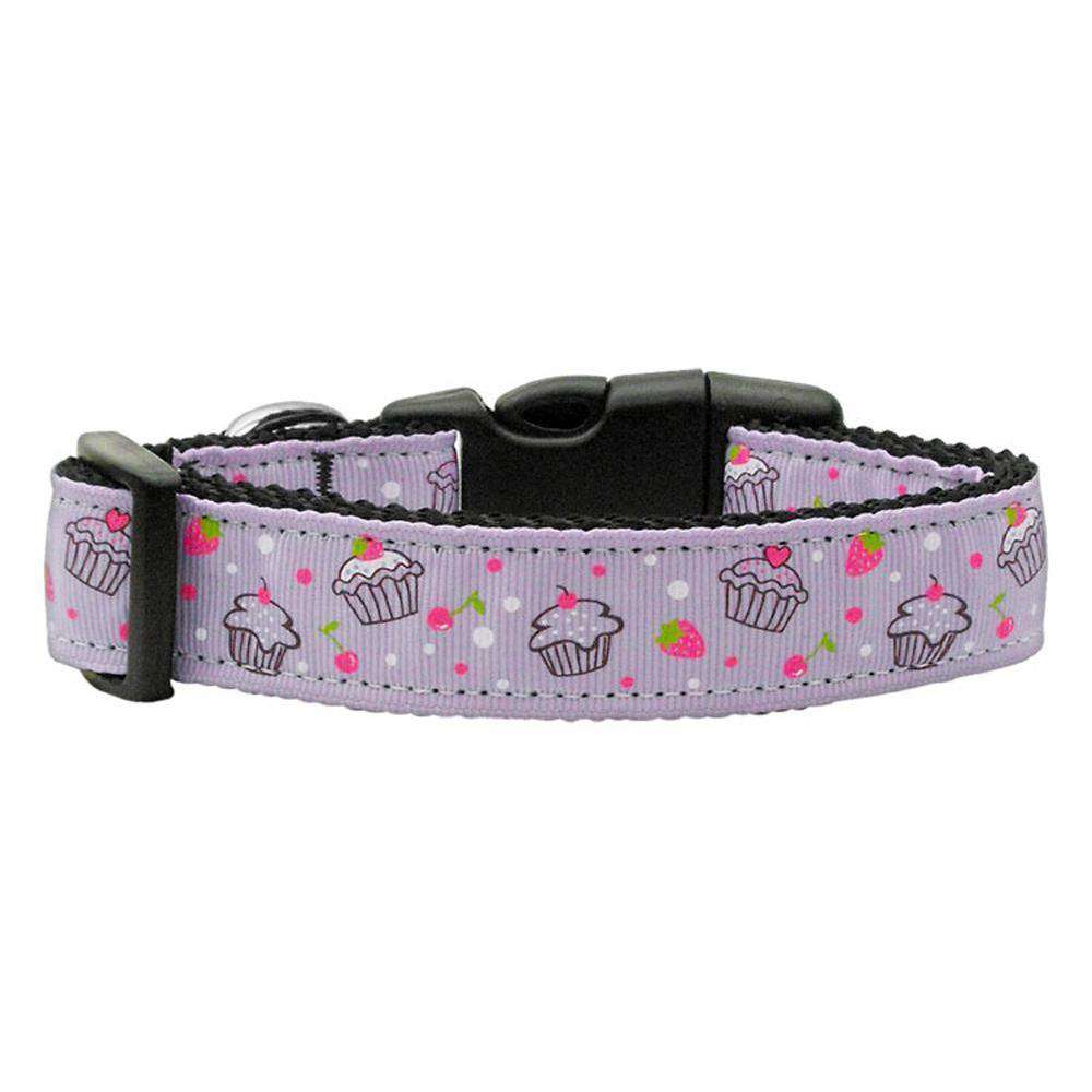 Cupcakes Nylon Ribbon Collar Purple Medium-Mirage Pet Products-DirtyFurClothing