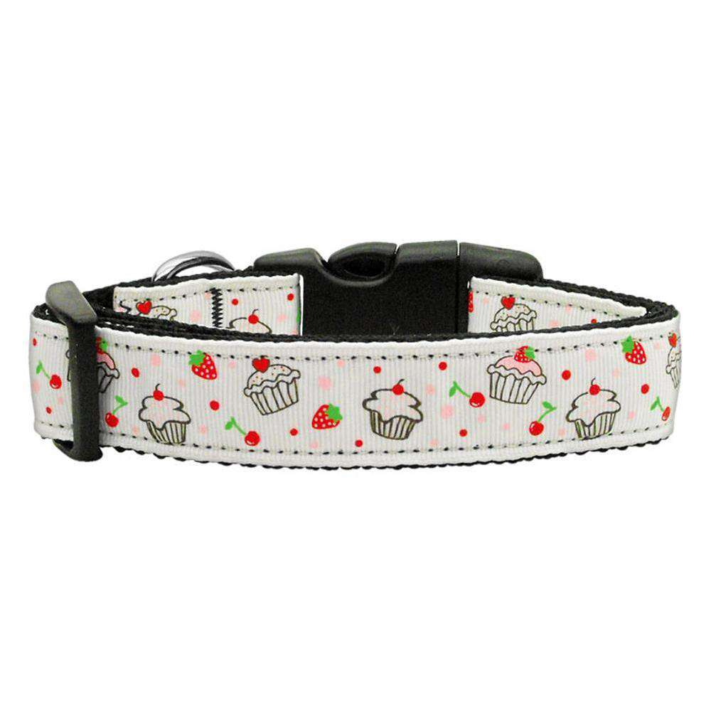 Cupcakes Nylon Ribbon Collar White Medium-Mirage Pet Products-DirtyFurClothing