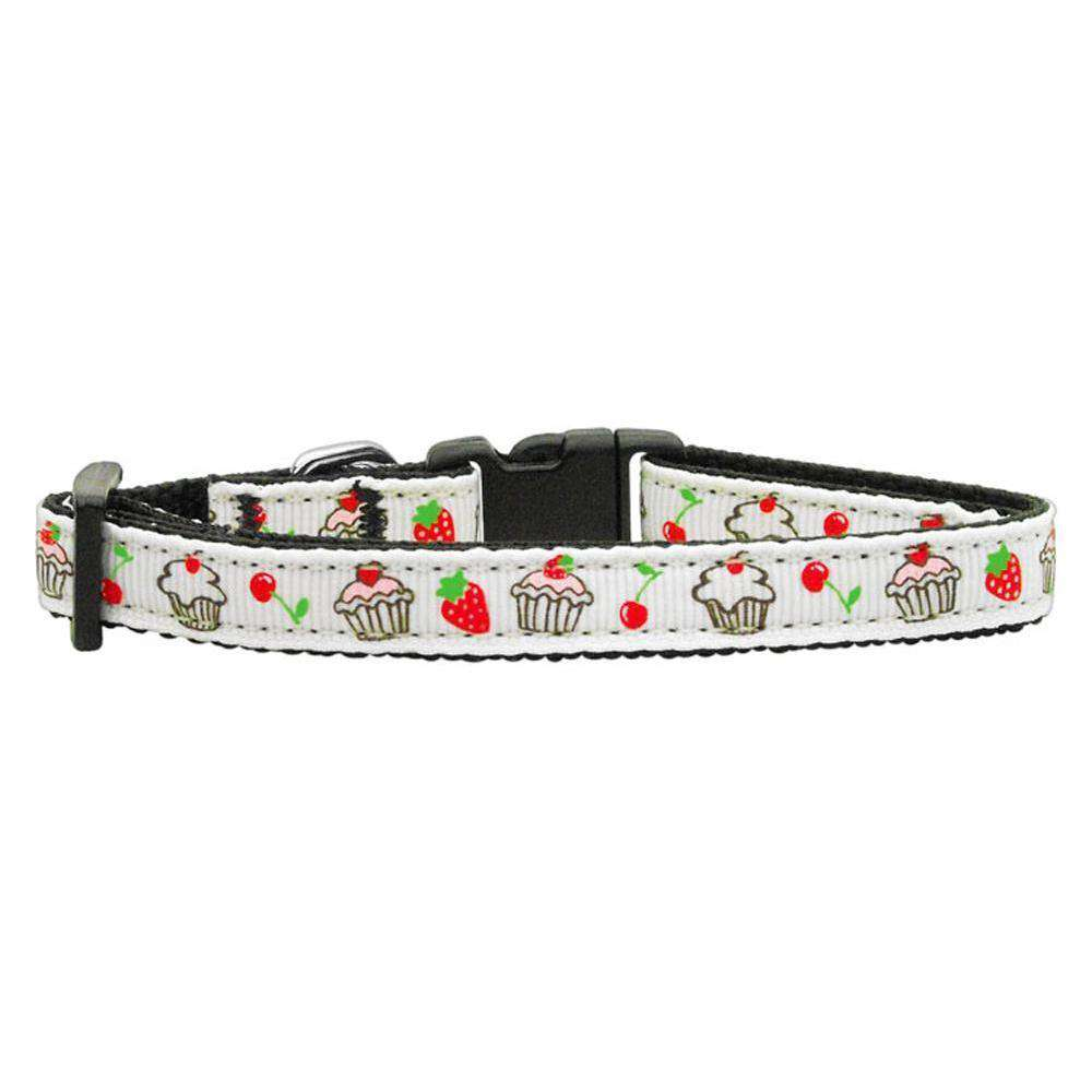 Cupcakes Nylon Ribbon Collar White X-small-Mirage Pet Products-DirtyFurClothing
