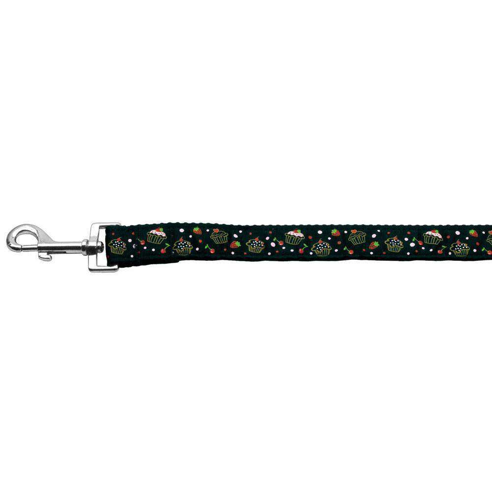 Cupcakes Nylon Ribbon Leash Black 1 Inch Wide 6Ft Long-Mirage Pet Products-DirtyFurClothing