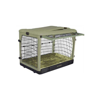 Deluxe Steel Dog Crate With Bolster Pad - Medium-sage-Pet Gear-DirtyFurClothing