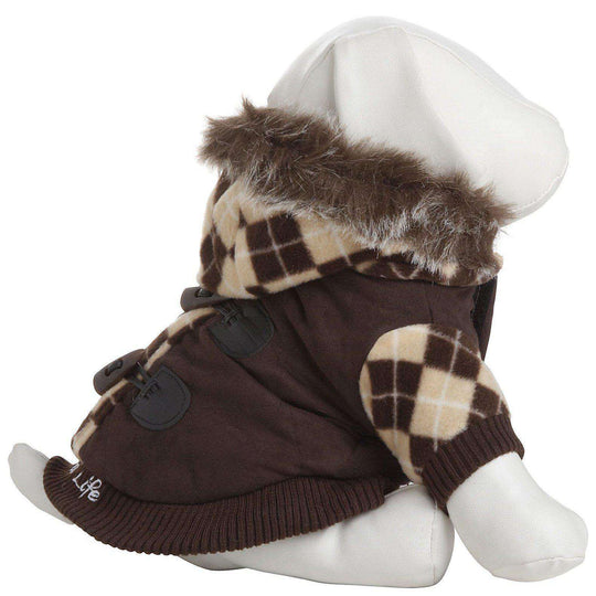 Designer Patterned Suede Argyle Sweater Pet Jacket - Brown-Pet Life-DirtyFurClothing