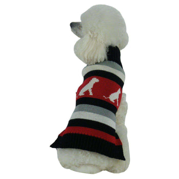 Dog Patterned Stripe Fashion Turtle Neck Pet Sweater-Pet Life-DirtyFurClothing
