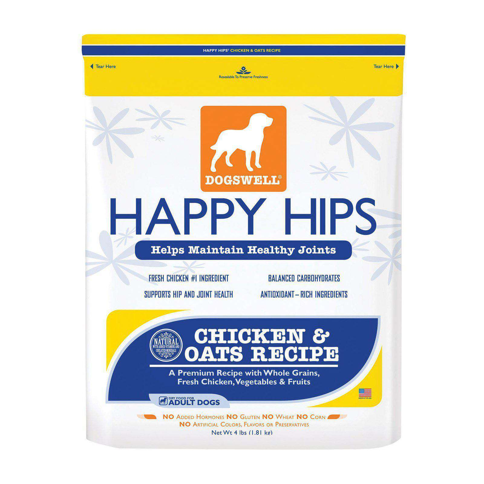 Dogs Well Happy Hips Chicken And Oats Dog Food - Case Of 6 - 4 Lb.-Dogswell-DirtyFurClothing