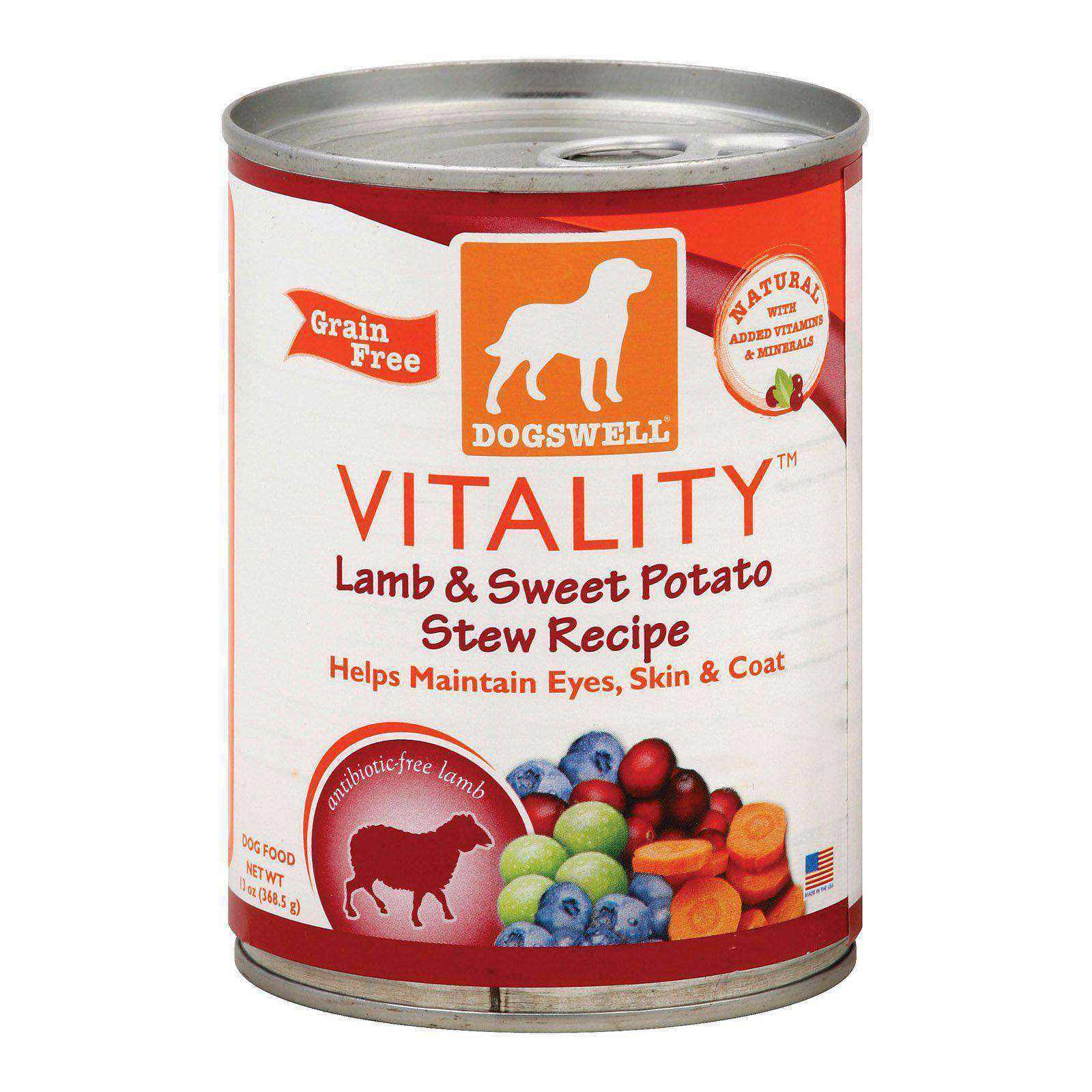 Dogs Well Vitality Lamb And Sweet Potato Stew Canned Dog Food - Case Of 12 - 13 Oz.-Dogswell-DirtyFurClothing