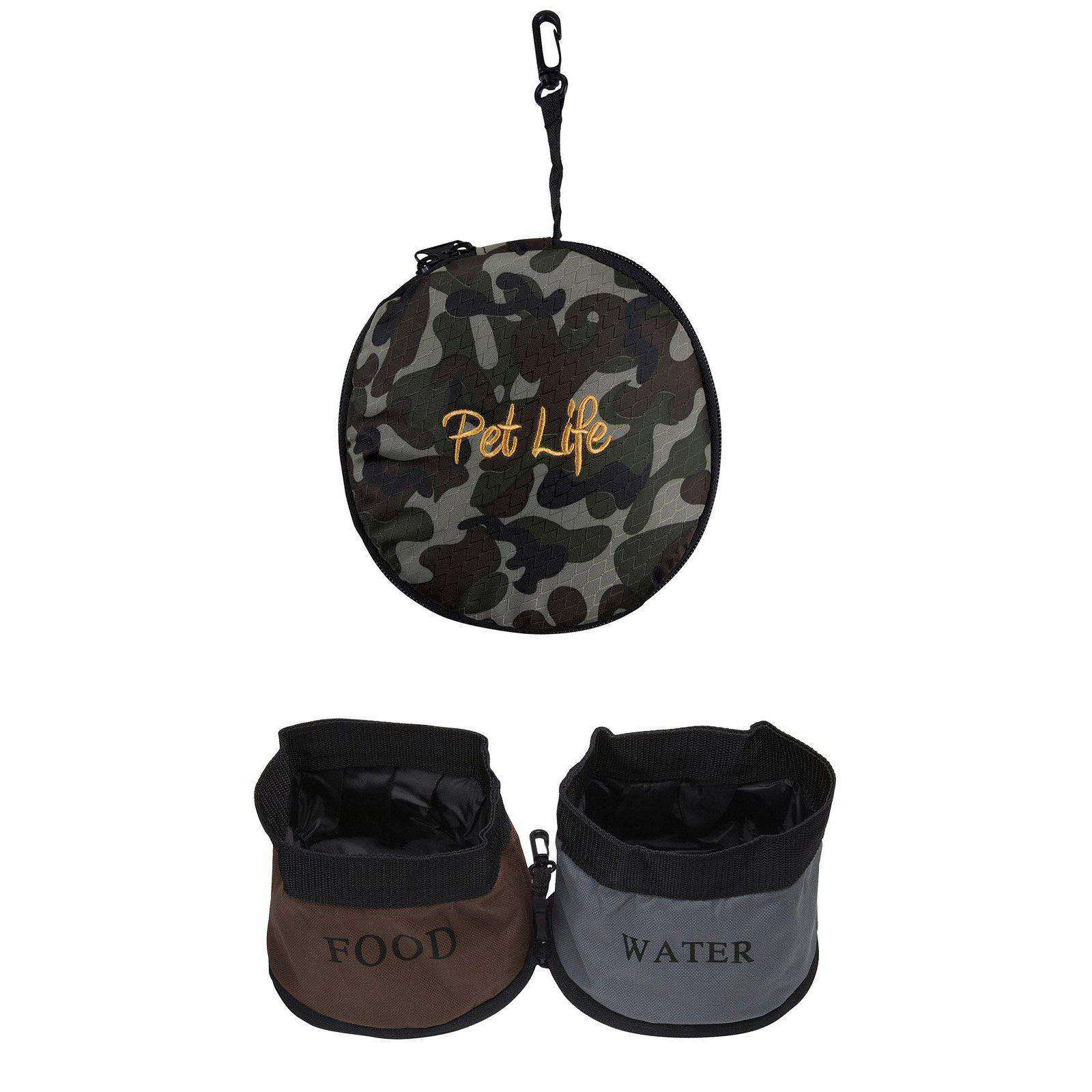 Double Water Travel Pet Bowl- Camouflage-Pet Life-DirtyFurClothing