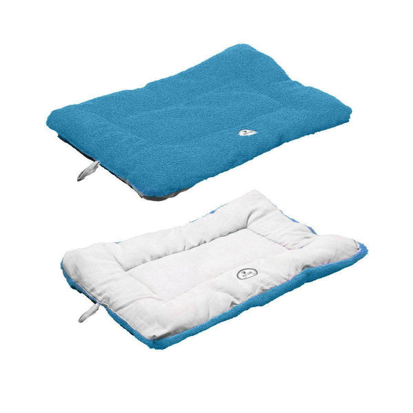 Eco-Paw Reversible Eco-Friendly Dog Bed- Blue And Aqua-Pet Life-DirtyFurClothing