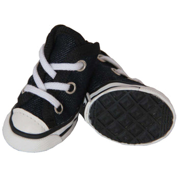 Extreme-Skater Canvas Casual Grip Pet Sneaker Shoes - Set Of 4- Black/White-Pet Life-DirtyFurClothing