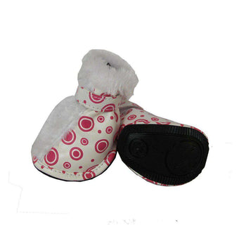 Fashion Plush Premium Fur-Comfort Pvc Waterproof Supportive Pet Shoes - Pink & White-Pet Life-DirtyFurClothing