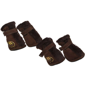 Fashion Plush Premium Fur-Comfort Suede Supportive Pet Shoes - Dark Brown-Pet Life-DirtyFurClothing