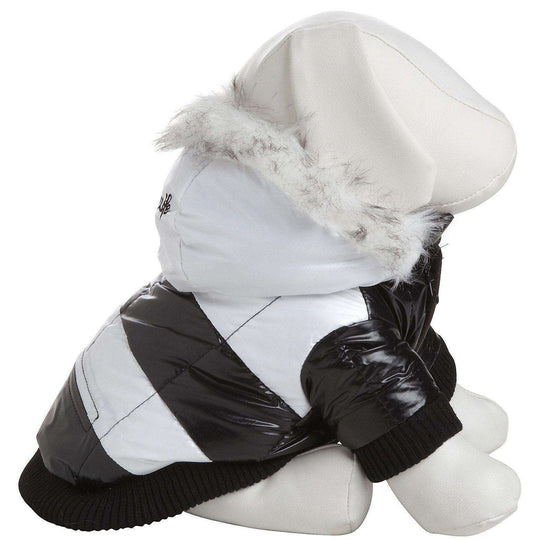 Fashion Striped Ultra-Plush Pet Parka Coat - Black & White-Pet Life-DirtyFurClothing