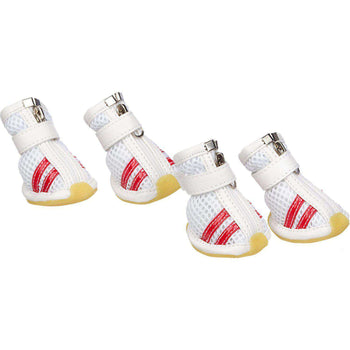 Flexible Air-Mesh Lightweight Pet Shoes Sneakers - White & Red-Pet Life-DirtyFurClothing