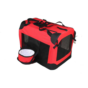 Folding Deluxe 360 Vista View House Pet Crate- Red-Pet Life-DirtyFurClothing