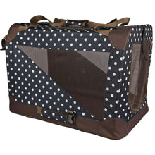 Folding Zippered 360 Vista View House Pet Crate - Blue/Brown Polka-Pet Life-DirtyFurClothing