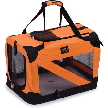 Folding Zippered 360 Vista View House Pet Crate - Orange-Pet Life-DirtyFurClothing