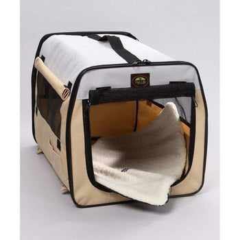 Folding Zippered Lightweight Easy Folding Pet Crate - Khaki-Pet Life-DirtyFurClothing