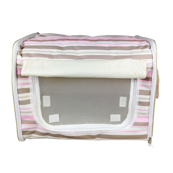 Folding Zippered Lightweight Wire-Framed Easy Folding Pet Crate - Stripe Pattern-Pet Life-DirtyFurClothing