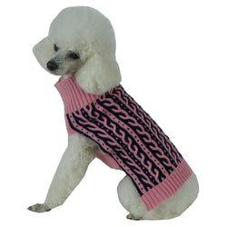 Harmonious Dual Color Weaved Heavy Cable Knitted Fashion Designer Dog Sweater-Pet Life-DirtyFurClothing