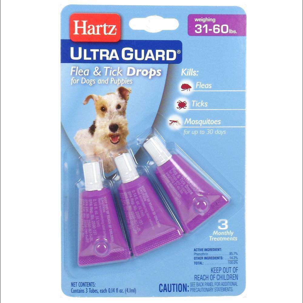 Harts Ultraguard Flea and Tick Drops (Dogs 31-60 Pounds) 3 Treatments-HARTZ-DirtyFurClothing