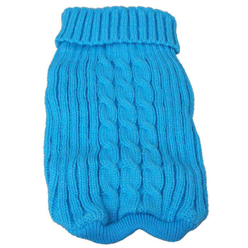 Heavy Cotton Rib-Collared Pet Sweater- Light Blue-Pet Life-DirtyFurClothing