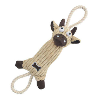 Jute And Rope Plush Cow - Pet Toy- Brown-Pet Life-DirtyFurClothing