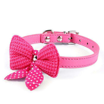 Knit Bowknot Adjustable Pu Leather Dog Puppy Pet Collars Necklace Hot Pink-DirtyFurClothing-DirtyFurClothing