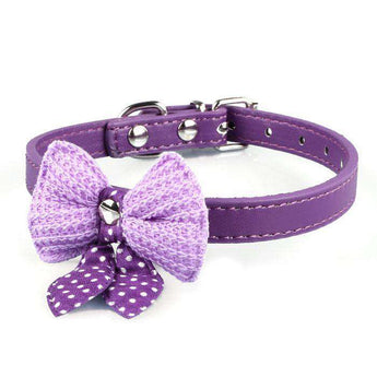 Knit Bowknot Adjustable Pu Leather Dog Puppy Pet Collars Necklace Pp-DirtyFurClothing-DirtyFurClothing