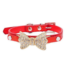 Leather Chic Dog Collar With Bling On The Bow-DirtyFurClothing-DirtyFurClothing