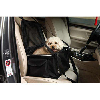Lightweight Collapsible Safety Travel Wire Folding Pet Car Seat Carrier - Black-grey-Pet Life-DirtyFurClothing