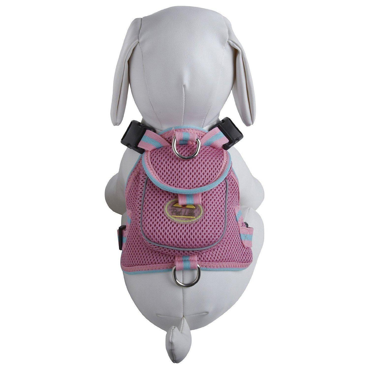 Mesh Dog Harness With Pouch - Pink-Pet Life-DirtyFurClothing