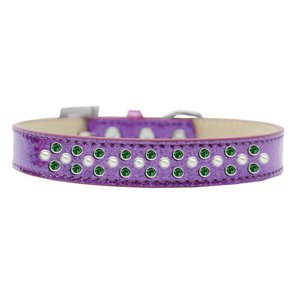 Mirage Pet Products Sprinkles Ice Cream Dog Collar Pearl And Emerald Green Crystals Size 14 - Purple-Mirage Pet Products-DirtyFurClothing