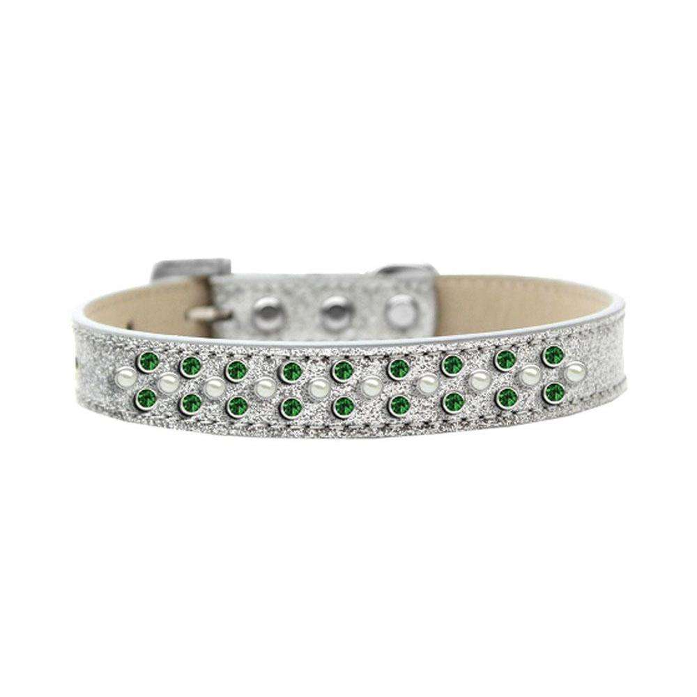 Mirage Pet Products Sprinkles Ice Cream Dog Collar Pearl And Emerald Green Crystals Size 16 - Silver-Mirage Pet Products-DirtyFurClothing