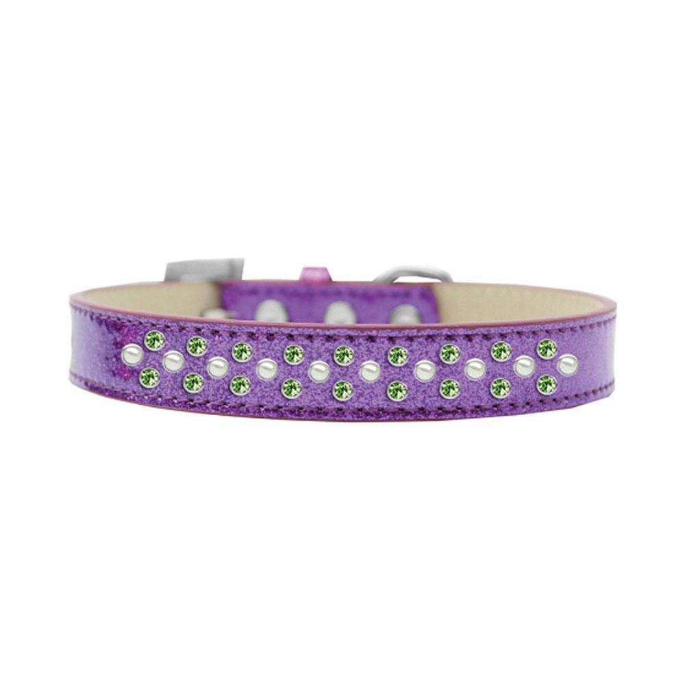 Mirage Pet Products Sprinkles Ice Cream Dog Collar Pearl And Lime Green Crystals Size 12 - Purple-Mirage Pet Products-DirtyFurClothing
