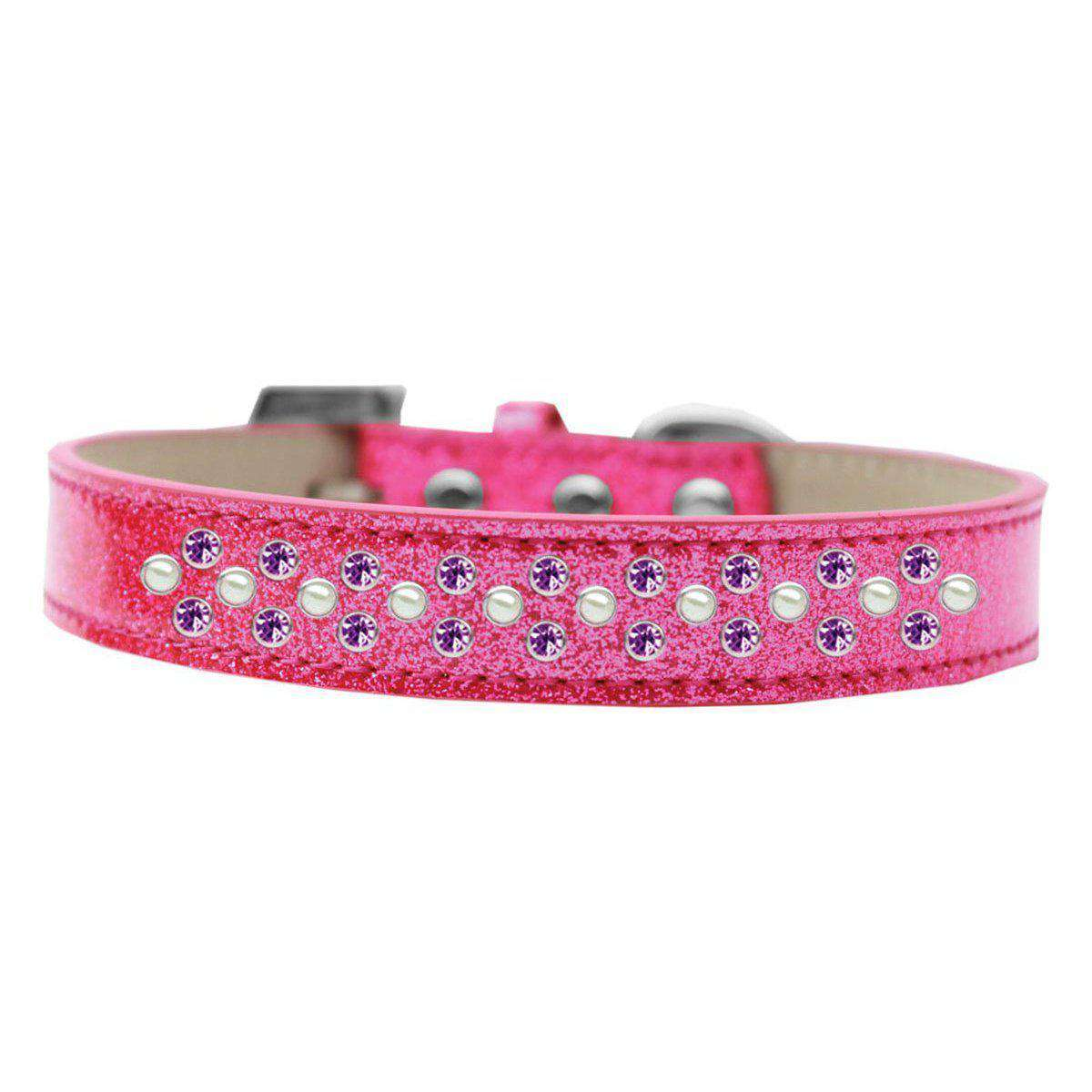 Mirage Pet Products Sprinkles Ice Cream Dog Collar Pearl And Purple Crystals Size 16 - Pink-Mirage Pet Products-DirtyFurClothing