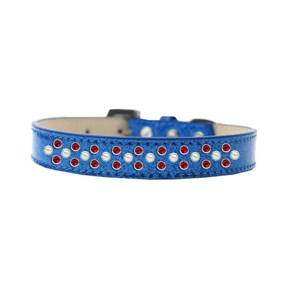 Mirage Pet Sprinkles Ice Cream Adjustable Dog Collar Pearl And Red Crystals Size 16 - Blue-Mirage Pet Products-DirtyFurClothing