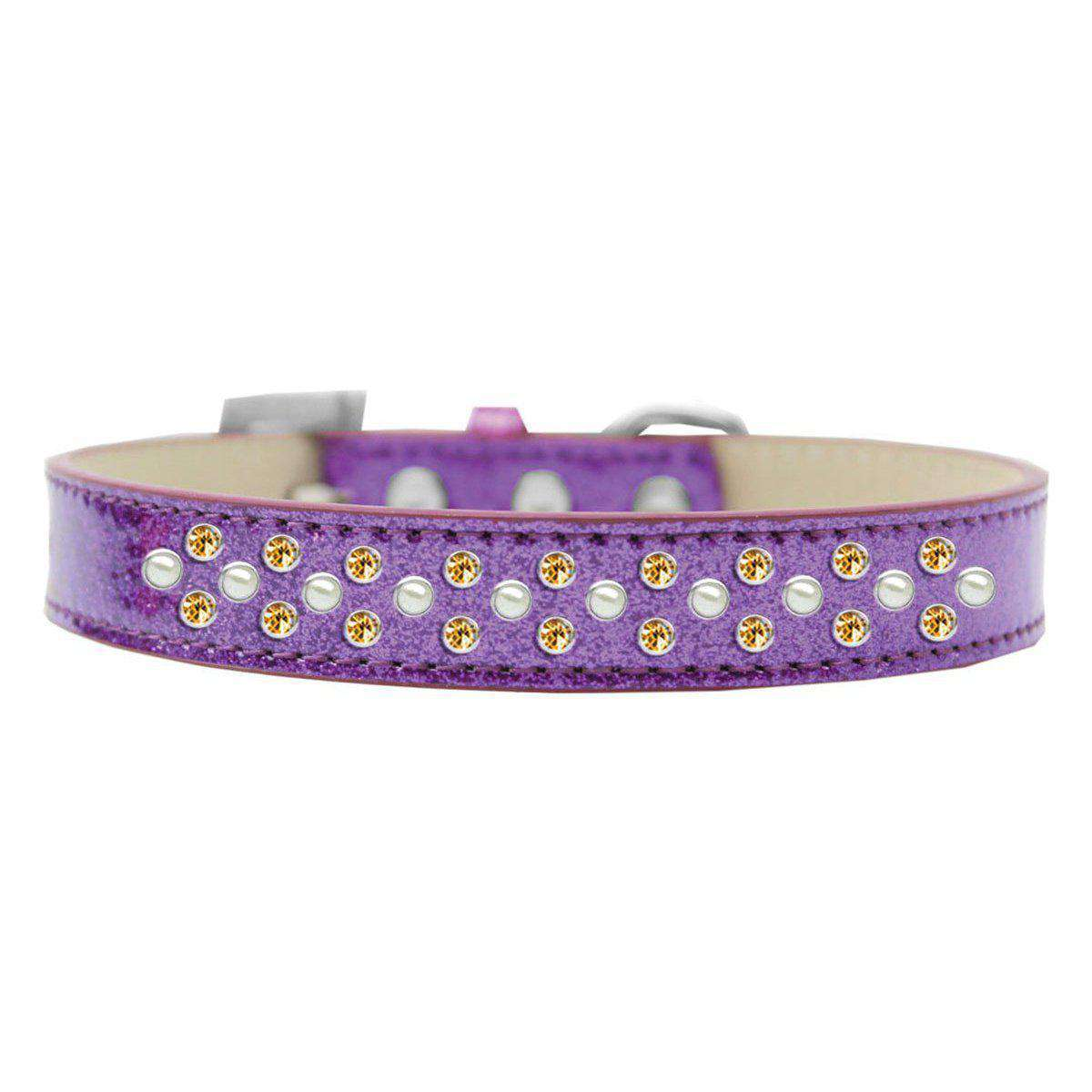 Mirage Pet Sprinkles Ice Cream Adjustable Dog Collar Pearl And Yellow Crystals Size 14 - Purple-Mirage Pet Products-DirtyFurClothing