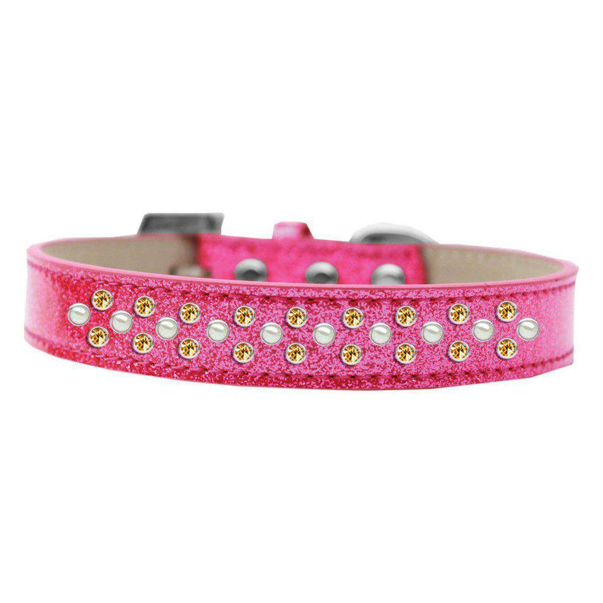Mirage Pet Sprinkles Ice Cream Adjustable Dog Collar Pearl And Yellow Crystals Size 16 - Pink-Mirage Pet Products-DirtyFurClothing