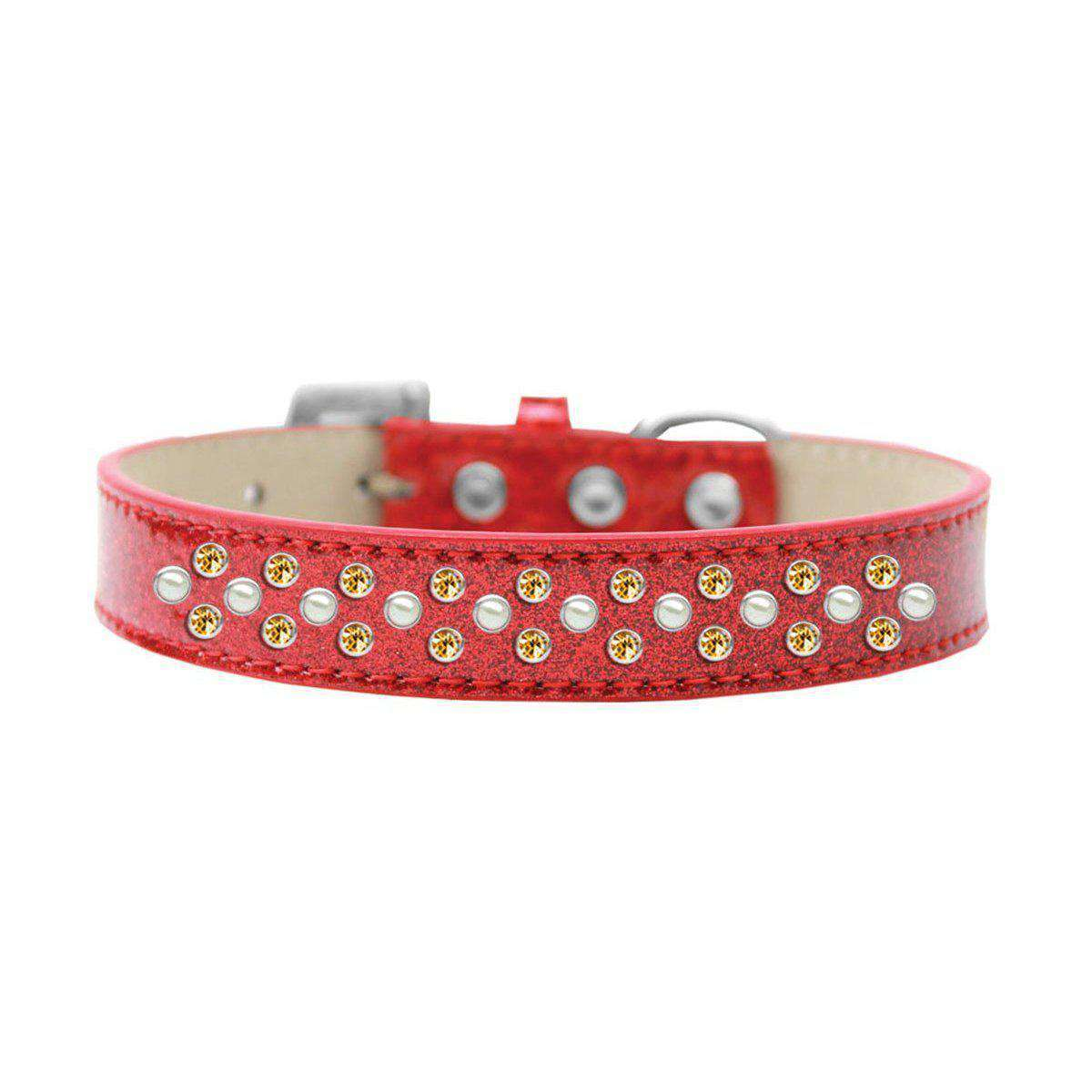 Mirage Pet Sprinkles Ice Cream Adjustable Dog Collar Pearl And Yellow Crystals Size 18 - Red-Mirage Pet Products-DirtyFurClothing