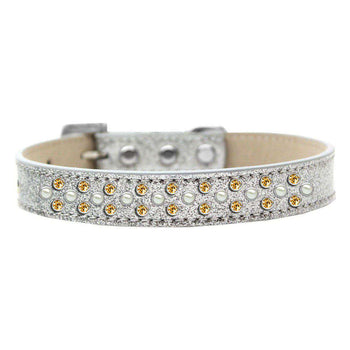 Mirage Pet Sprinkles Ice Cream Adjustable Dog Collar Pearl And Yellow Crystals Size 18 - Silver-Mirage Pet Products-DirtyFurClothing