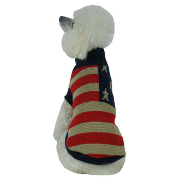 Patriot Independence Star Heavy Knitted Fashion Turtle Neck Dog Sweater-Pet Life-DirtyFurClothing