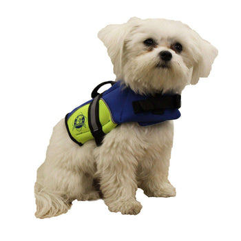Paws Aboard Double Extra Small Neoprene Designer Doggy Blue - Yellow Life Guard - Jacket Upto 2-6 Lbs-Paws Aboard-DirtyFurClothing
