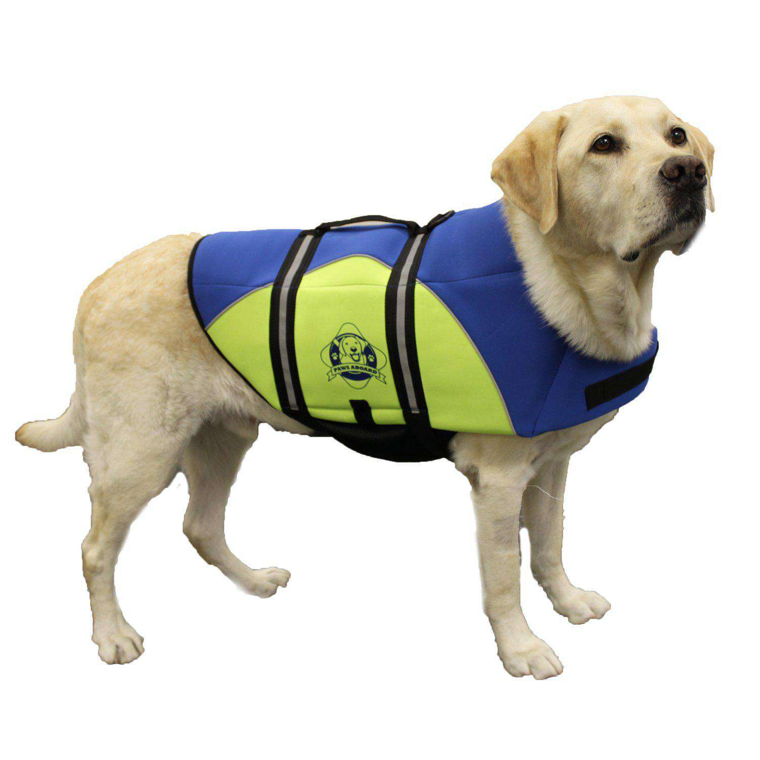 Paws Aboard Extra Large Neoprene Designer Doggy Blue - Yellow Life Guard - Jacket Upto Over 90 Lbs-Paws Aboard-DirtyFurClothing