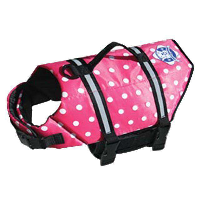 Paws Aboard Large Doggy Life Saver - Preserver Pink Polka Dot Jacket 50 To 90 Lbs-Paws Aboard-DirtyFurClothing