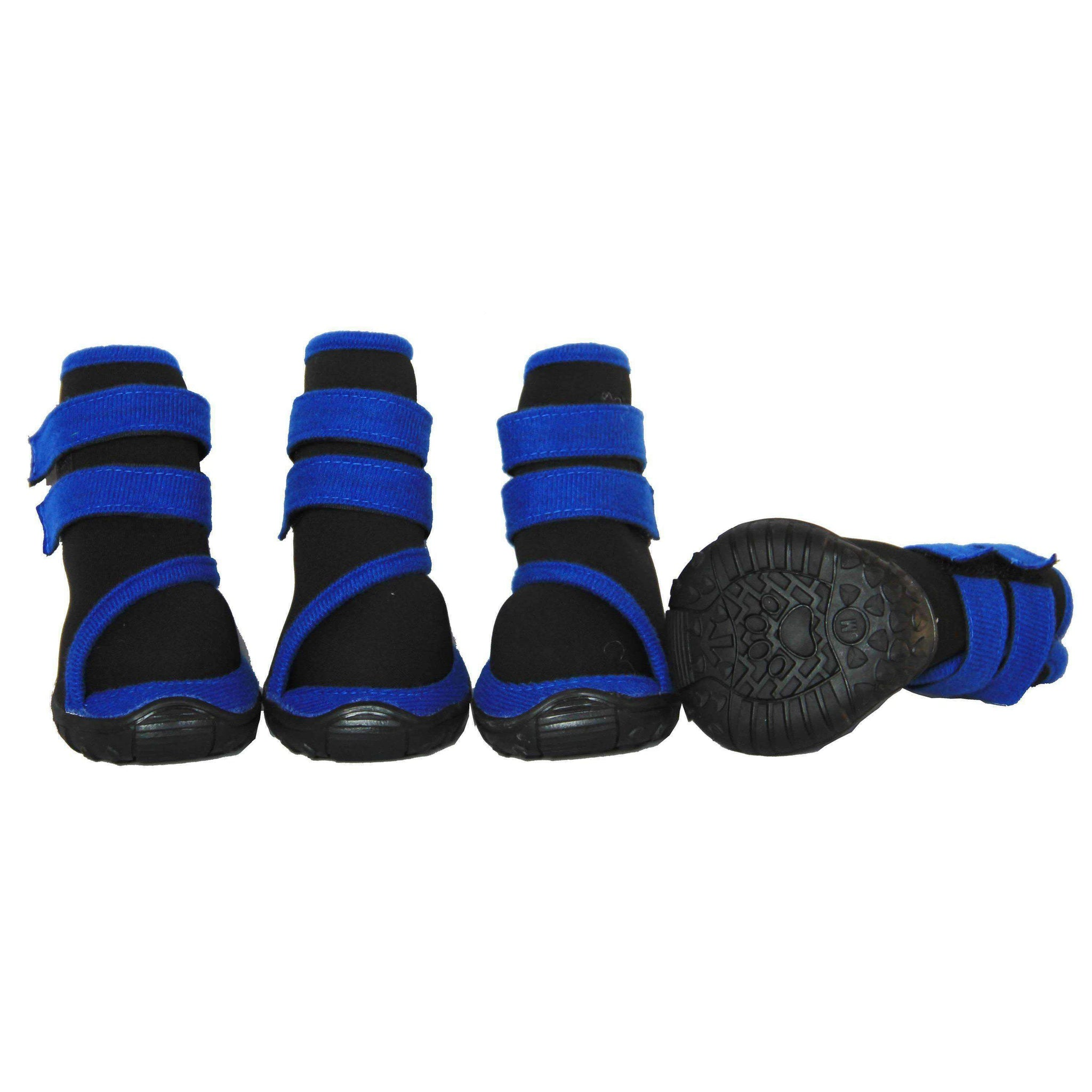 Performance Premium Stretch Supportive Pet Shoes - Set Of 4 - Black/Blue-Pet Life-DirtyFurClothing