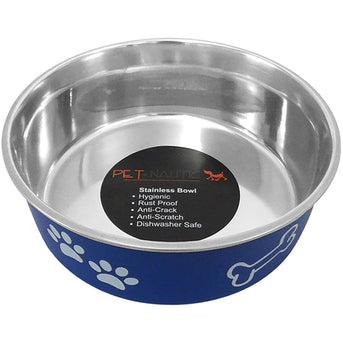 Pet Nautic Fusion Plastic-stainless Steel Bowl 10oz-navy-Pet Nautic-DirtyFurClothing