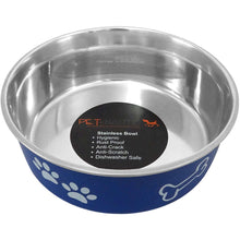 Pet Nautic Fusion Plastic-stainless Steel Bowl 32oz-navy-Pet Nautic-DirtyFurClothing