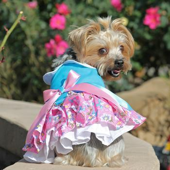 Pink And Blue Plumeria Floral Dog Dress-DirtyFurClothing-DirtyFurClothing