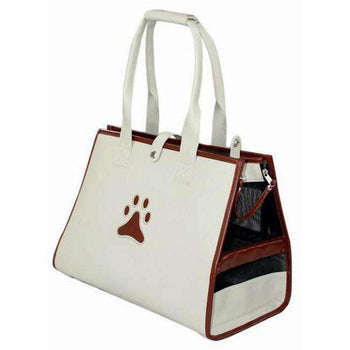 Posh Paw' Pet Carrier - White-Brown Paw Print-Pet Life-DirtyFurClothing