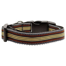 Preppy Stripes Nylon Ribbon Collars Brown-khaki Large-Mirage Pet Products-DirtyFurClothing